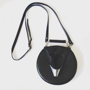 Handbags - Black leather circle top handle handbag crossbody